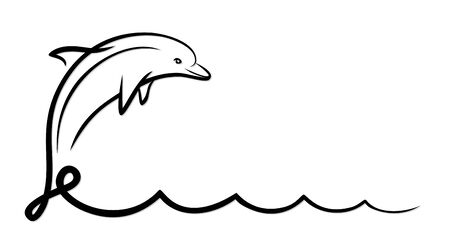 marine mammal: Dolphin with wave.