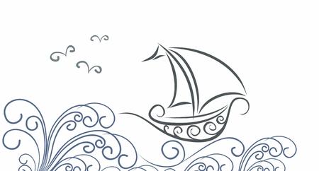 Un barco en el mar. Ilustración de vector