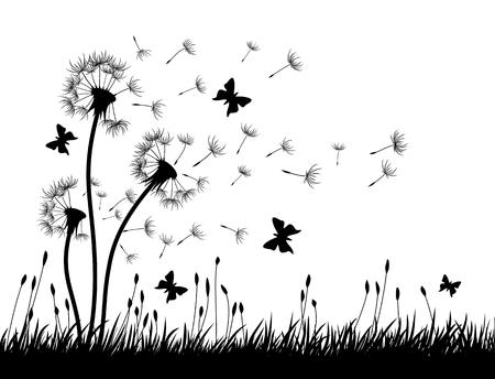 Paardebloemen met vlinders. Vector Illustratie