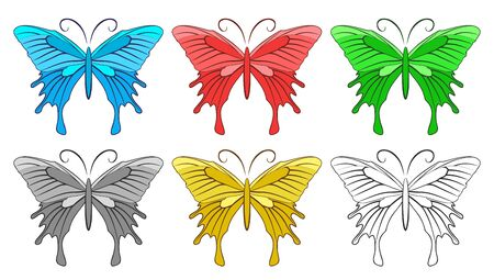 wingspan: Colorful butterflies. Illustration