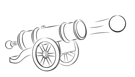 nucleus: Cannon and nucleus. Illustration