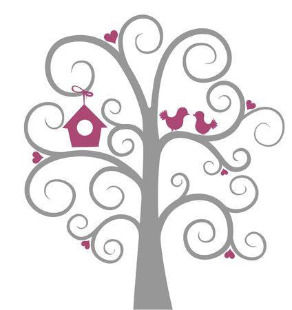 sparrows: Birds on tree.