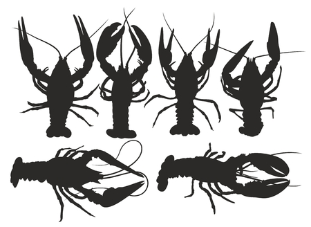 crustacean: lobster silhouettes.