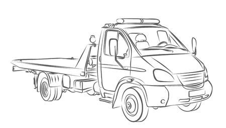 Skizzieren großen Abschleppwagen.