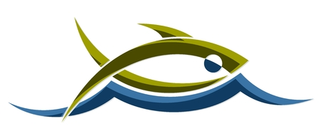 blue fish: Fish with wave.