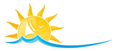 Logo sun with sailing vessel.