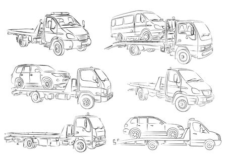 Sketches of tow trucks. 向量圖像