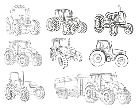 Sketches of tractors.