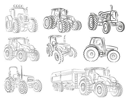 Sketches of tractors.
