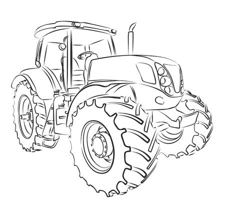 Tractor Sketch.  イラスト・ベクター素材