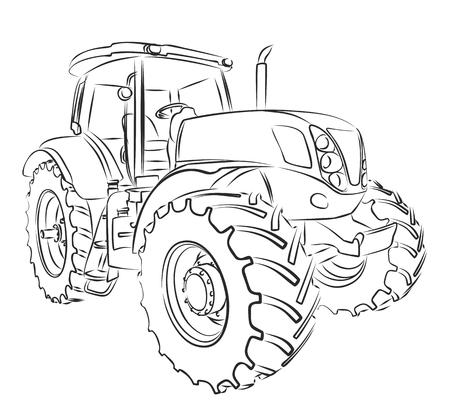 Tractor Sketch. Ilustracja