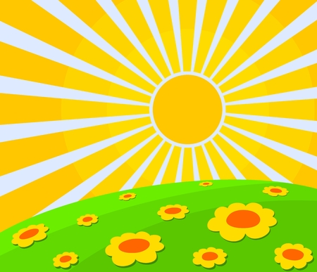 Landscape with flowers and sun.