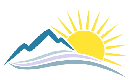Rising sun behind the mountains icon. Illustration