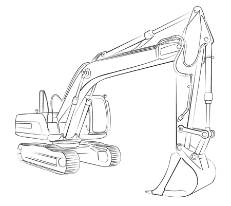 Excavator sketch vector illustration.
