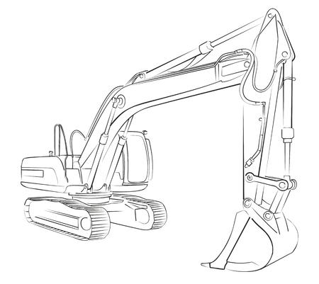 Excavator sketch vector illustration.