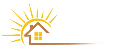 Cottage with sun. Vector illustration.