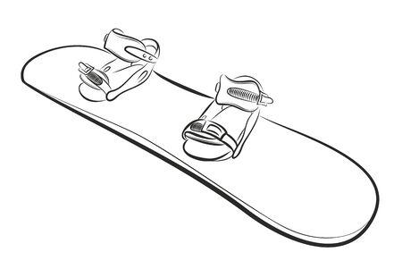 De snowboardschets op witte achtergrond, vectorillustratie.