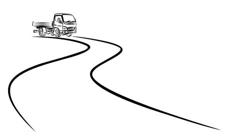 トラック付きの道路。  イラスト・ベクター素材