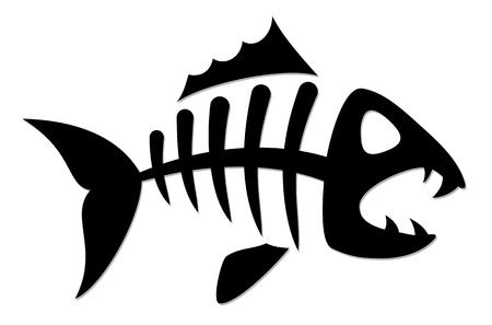 白い背景のイラストに魚の骨格。