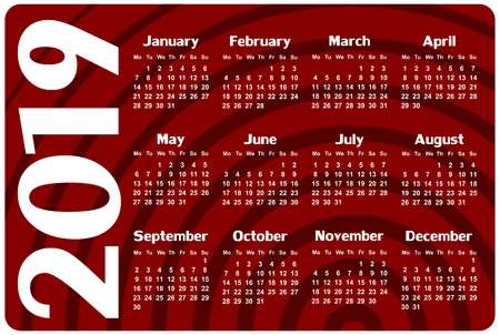 A Calendar Template For A Year 2019 Royalty Free Cliparts Vectors