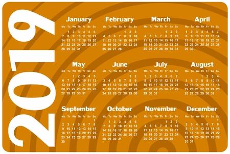 A calendar template for a year 2019.