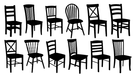 Set of old wooden chairs of different forms. Vectores