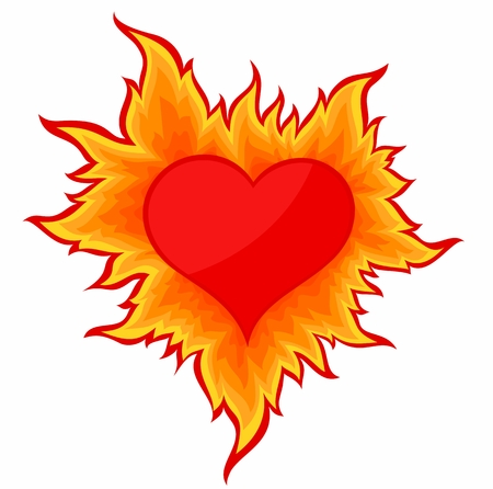 Heart with flame. Vectores