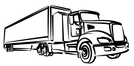A sketch of the long truck with the trailer.
