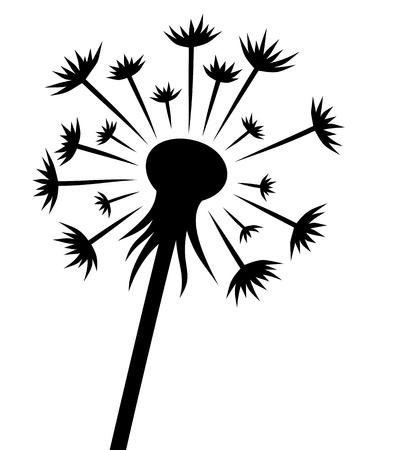 Dandelion flower silhouette illustration Illustration
