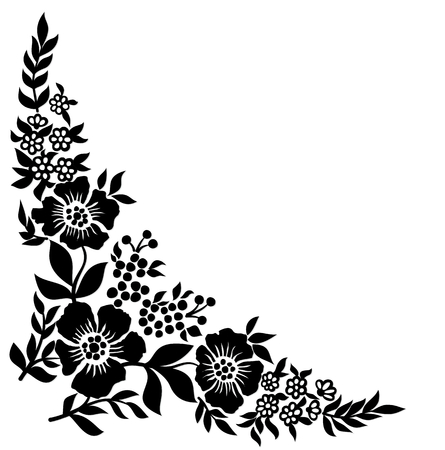 A pattern with flowers and berries.