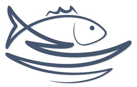 Fish with a wave logo. Çizim