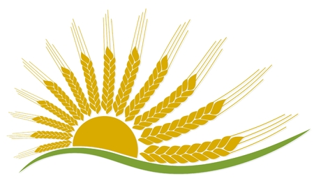 Logo of sun with wheat.
