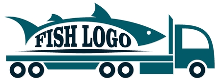 Truck icon with fish vector illustration. Çizim