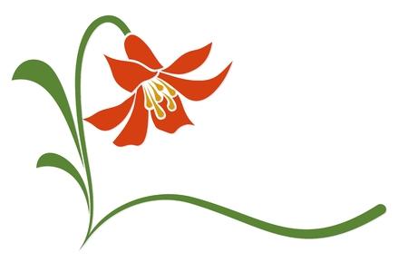 Logo fleur stylisée rouge.