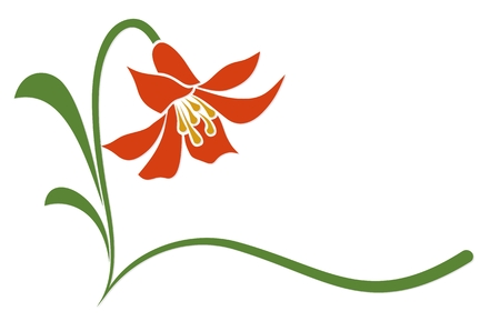 Logo red stylized flower. Illustration