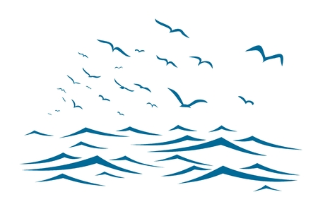 The blue sea with flock of birds.