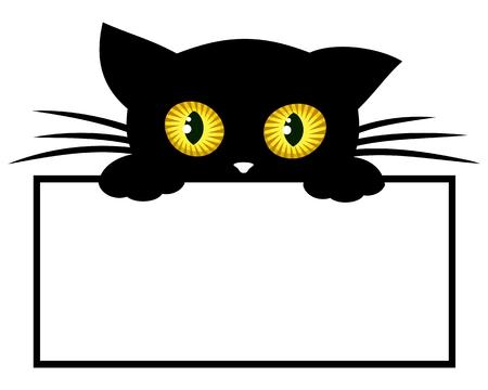 Rahmen mit schwarzem Kätzchen.