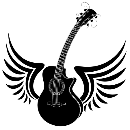 Sketch of a classical variety guitar with wings.