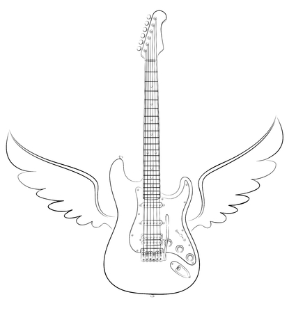 Guitar with wings. Vettoriali