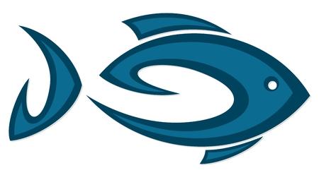Symbol of blue sea fish.