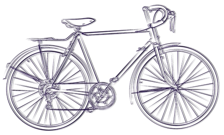 Sketch of the sports bicycle. Stock Illustratie
