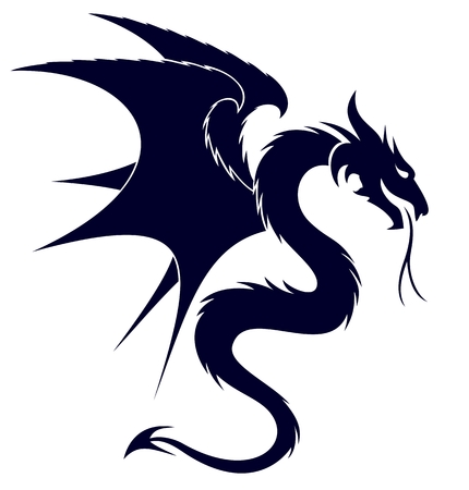 A symbol of the stylized dragon with wings.