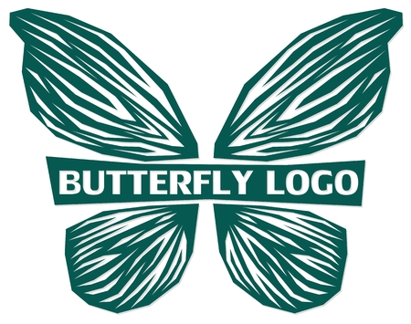 A symbol of the green stylized butterfly. Illustration