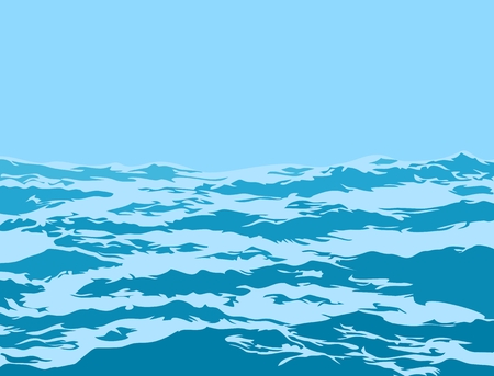A sea landscape with big blue waves.