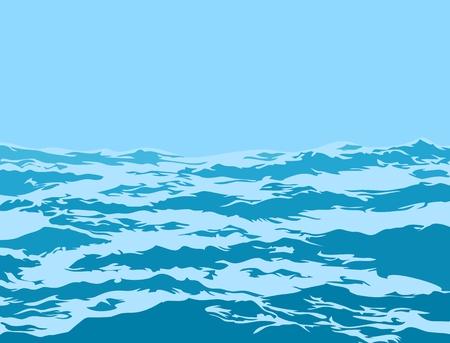 Un paysage de mer avec de grosses vagues bleues.
