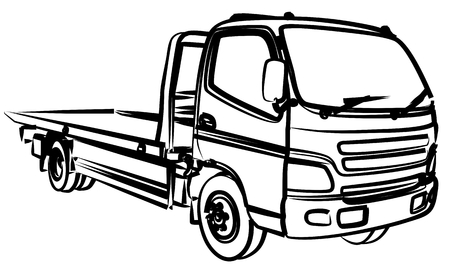 Sketch of a big city tow truck. Archivio Fotografico - 111031587
