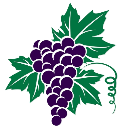 A symbol of grapes with leaves and a rod.