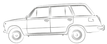 The Sketch of an old retro car.