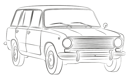 Sketch of retro car.