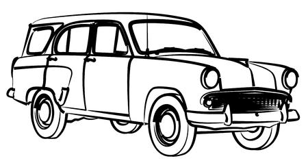 Sketch of retro car.